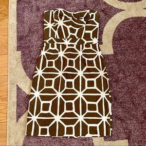 Trina Turk Brown Geometric Print Strapless Dress